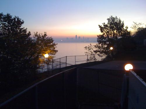 morning mist lake fog skyline sunrise cleveland erie