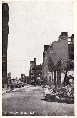 Wartime postcard showing the damage of the German bombing of Rotterdam during the invasion of the Netherlands. May 14th, 1940.