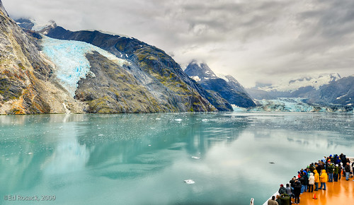 Panorama view of Johns Hopkins Glacier from Cruise ship deck | by Ed Rosack