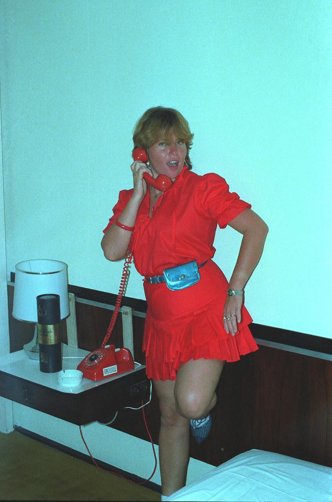 Charming Fun Brazilian Ladies Rio de Janeiro Copacabana Beach Leme Palace Hotel 1982 001a Red Dress