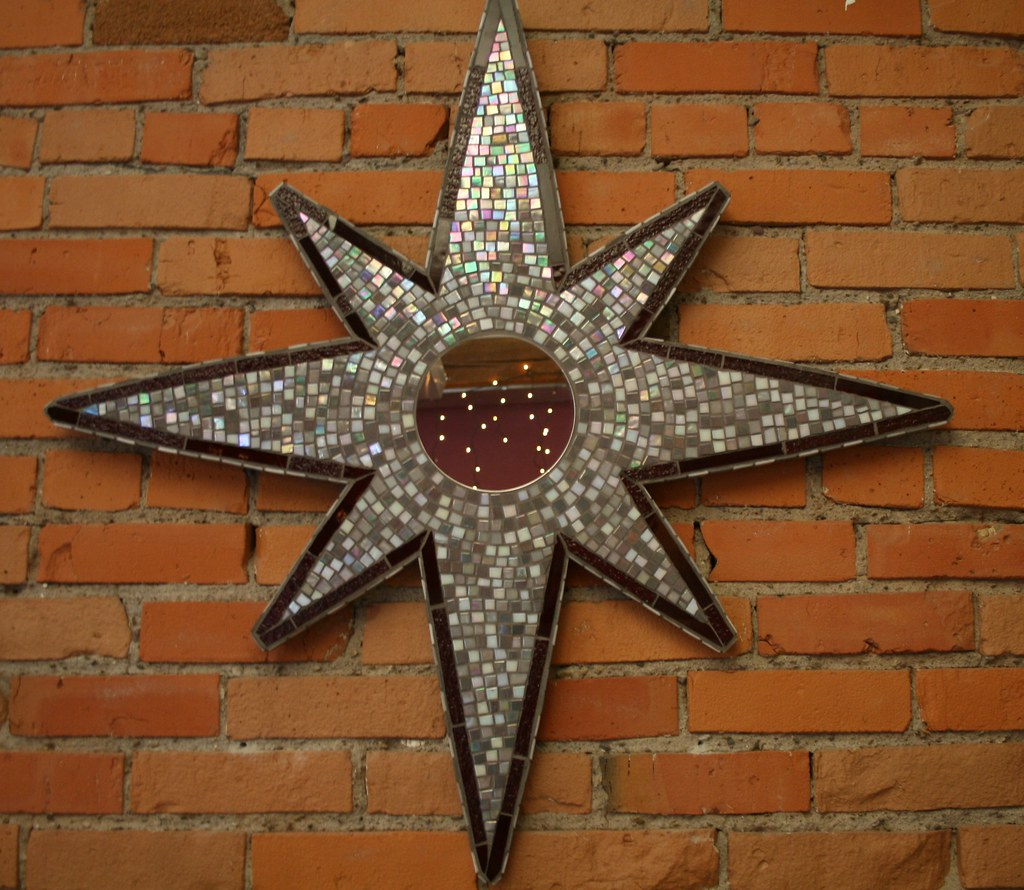 What Can I Use To Attach Christmas Lights To Brick star mirror 5   recent mosaic mirror hanging at the made fai