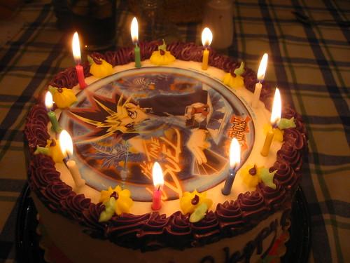 My birthday cake, all lit up.
