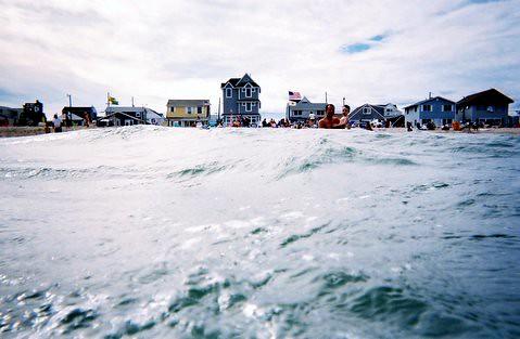 new jersey shore summer august ocean bay atlantic swimmer flags sky nikon chadwick beach