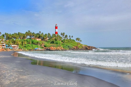 sea lighthouse india beach landscape coast landscapes sand nikon indian kerala palmtree coastline hdr kovalam kovalambeach