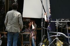 Emmanuelle Beart on set