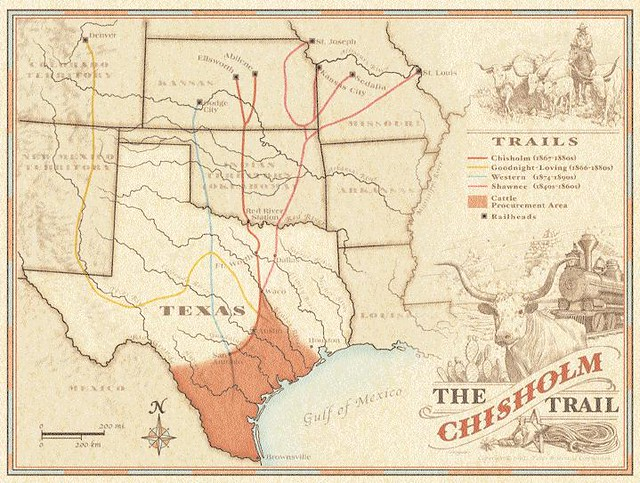 Map of Chisholm Trail 2 | The Chisholm Trail | Round Rock Community Chisholm Trail Map on