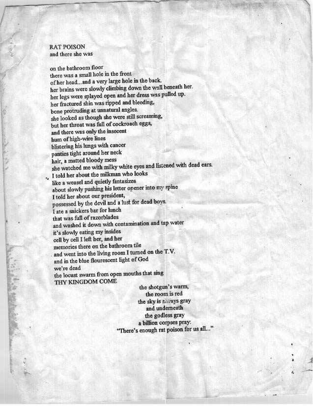 Rat Poison, a poem by Dax Riggs