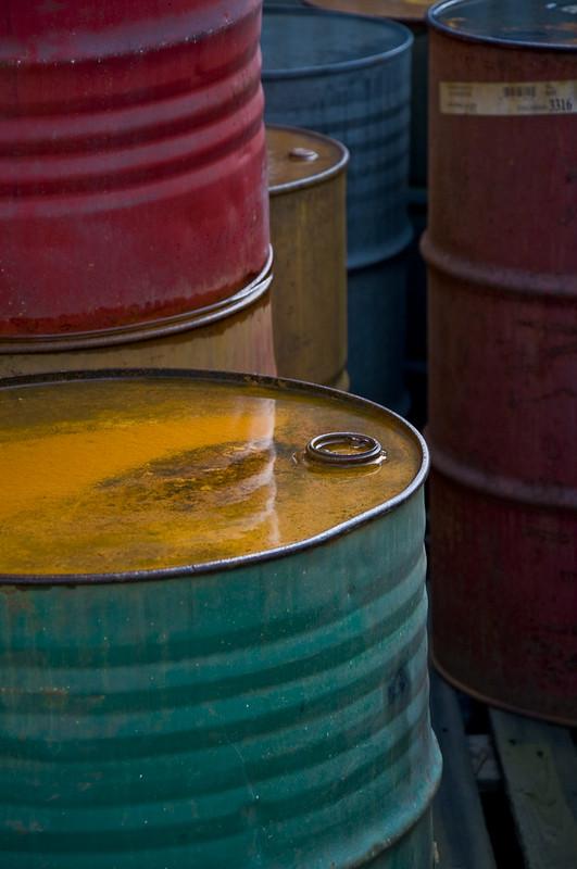 Colorful Old Oil Barrels