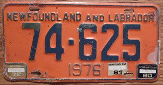 NEWFOUNDLAND 1976 LICENSE PLATE with 79 80 and 81 STICKERS