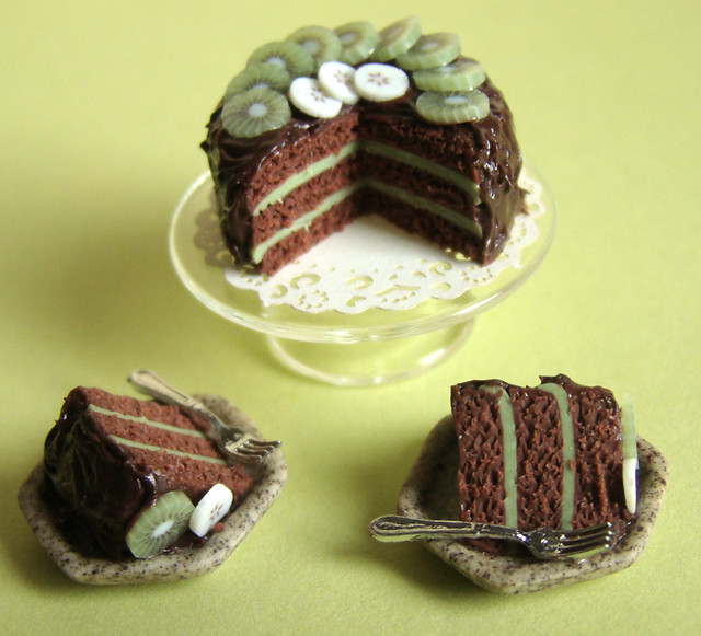 Kiwi And Chocolate Cake Handmade By Me In 112 Dollhouse S