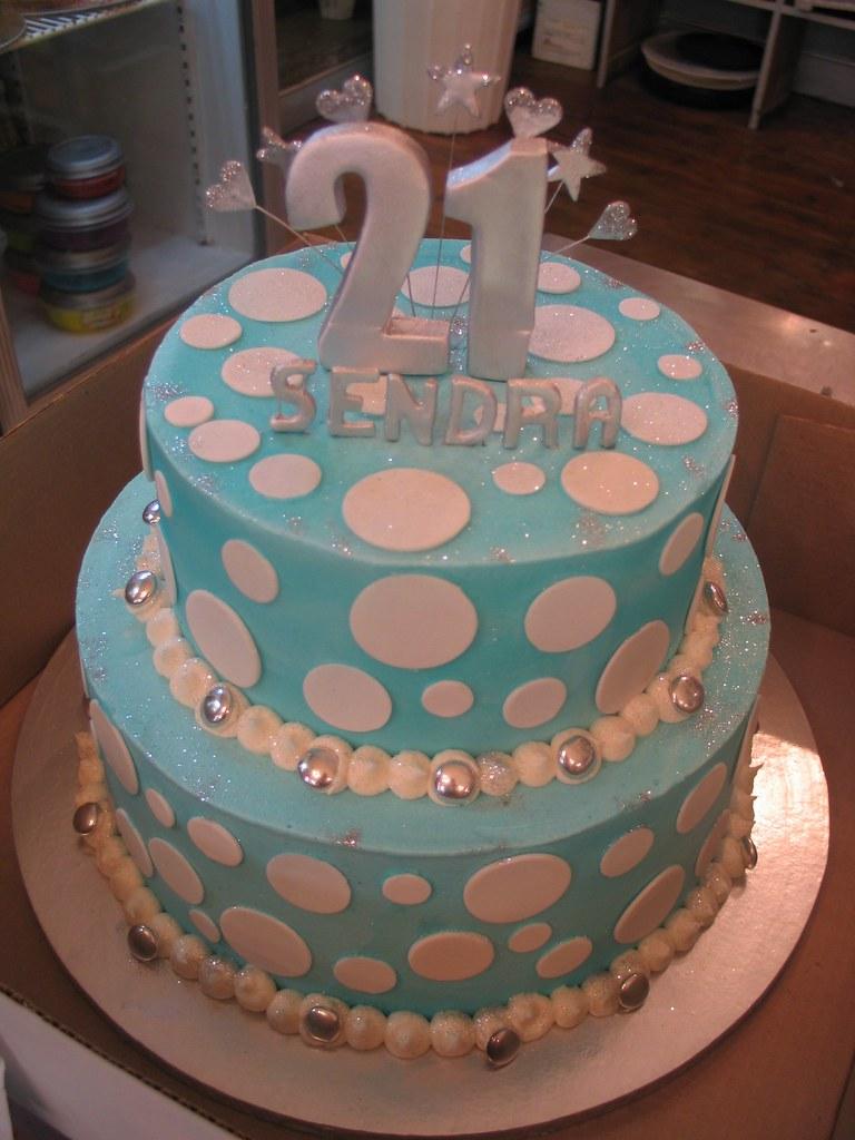 Astonishing 2 Tier Polka Dot 21St Birthday Cake Soft Blue White Flickr Funny Birthday Cards Online Necthendildamsfinfo