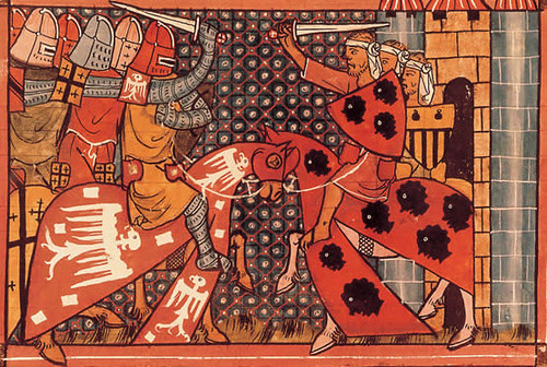 Godofredo de Bouillon - miniatura de un manuscrito gótico de 1337