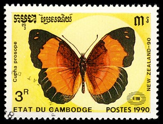 stamp cambodia 1990 cupha prosope | by pixelschubser.de