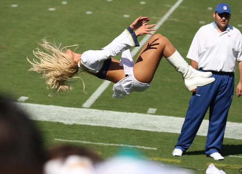 San Diego Charger girl doing a flip | by San Diego Shooter