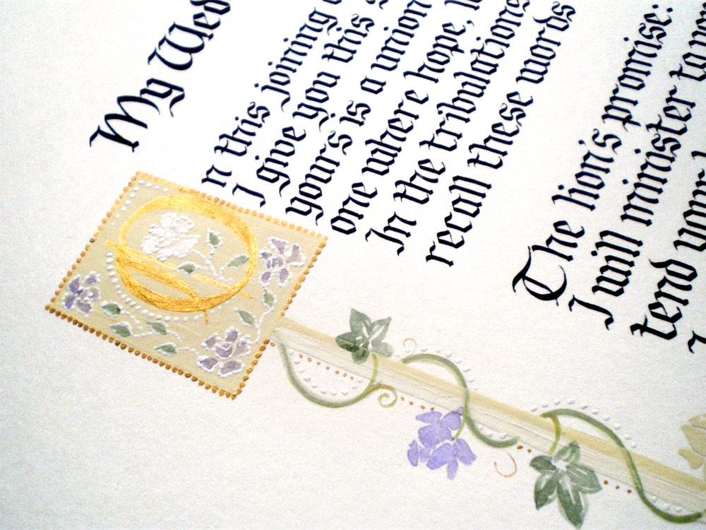 gothic calligraphy poem, vintage illustration
