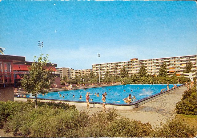 Zwembad De Fluit.Leidschendam Zwembad De Fluit Postcard Holland 60s 70s