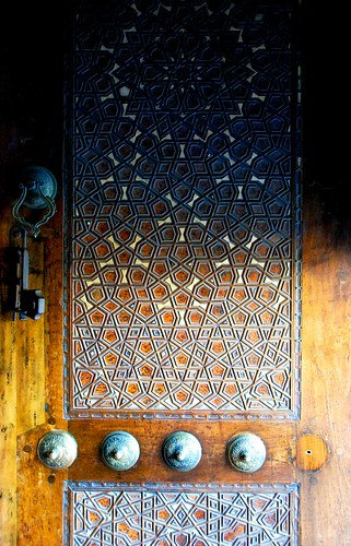 mother-of-pearl inlaid door at the blue mosque, istanbul | by hopemeng