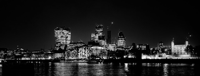 Towers of London Skyline & The Thames by Simon Hadleigh-Sparks