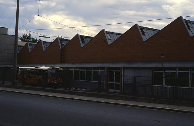 Bus Depot der VAG, Elbinger Straße, Nürnberg, 1989.