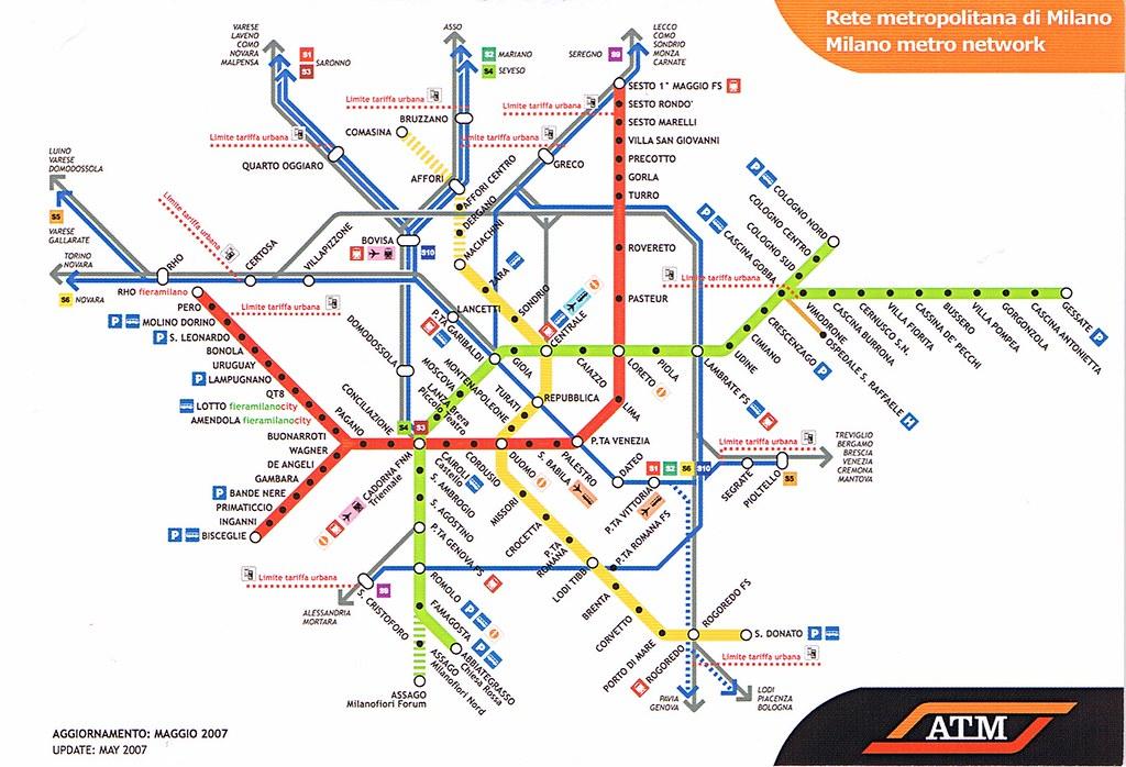 Milan Subway Map.Milan Metro Map Postcard 2007 Kotarana Flickr