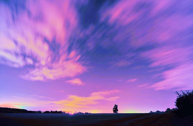Pink clouds receding