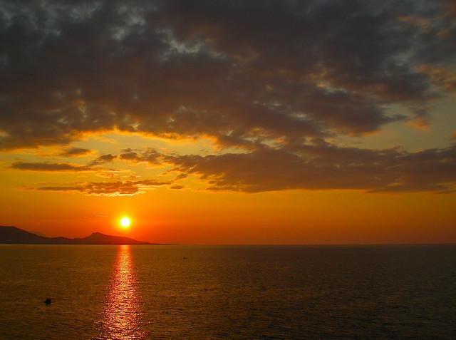 Sun setting low ...