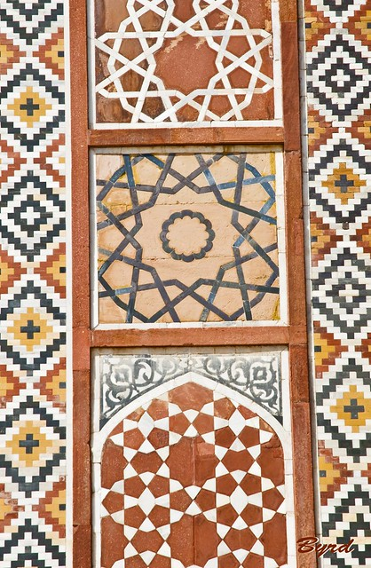 Geometrical detail of inlaid stonework - exterior Main Gate, Akbar's Tomb complex