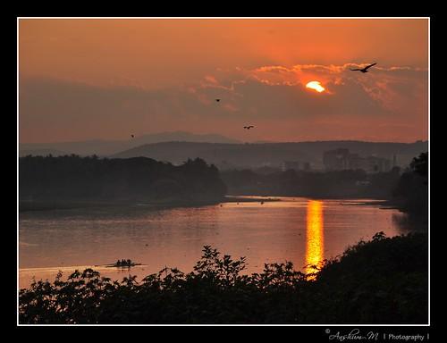 sunset reflection birds river boat nikon mutha pune mula d90 anshum nikond90 18105vr anshummandore anshumm urbanprowler