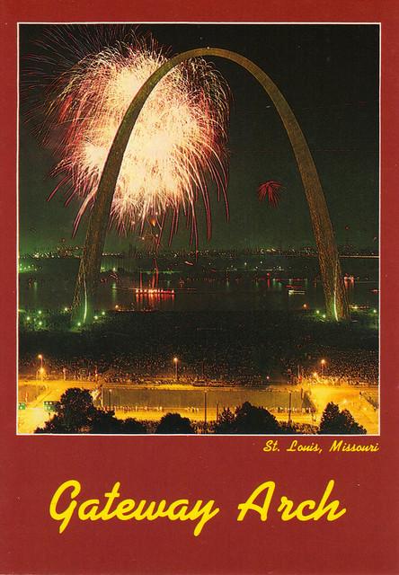 Gateway Arch Fireworks Postcard
