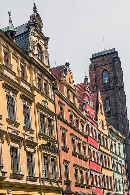 Facades of ancient tenements in the Old Town