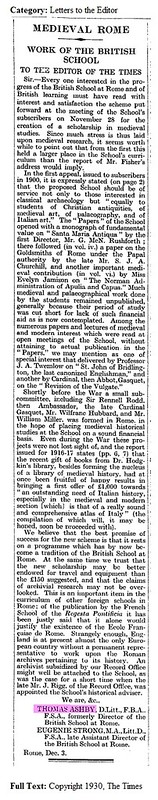 ROMA ARCHEOLOGIA E RESTAURO ARCHITETTURA 2020: Prof. T. Ashby & Prof. E. Strong - Medieval Rome - Work of the British School in Rome. The Times London (Dec. 10th, 1930), pg. 30.