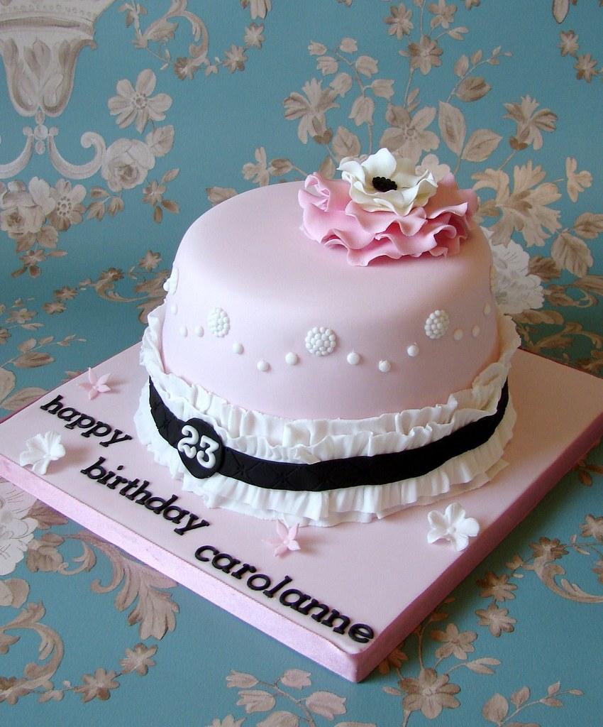 Fine Girly Vintage Style Birthday Cake Rubyteacakes Flickr Personalised Birthday Cards Veneteletsinfo
