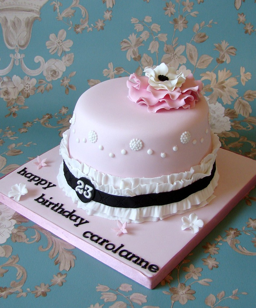 Terrific Girly Vintage Style Birthday Cake Rubyteacakes Flickr Funny Birthday Cards Online Alyptdamsfinfo