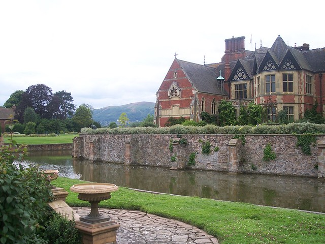 Madresfield Court, view across the moat