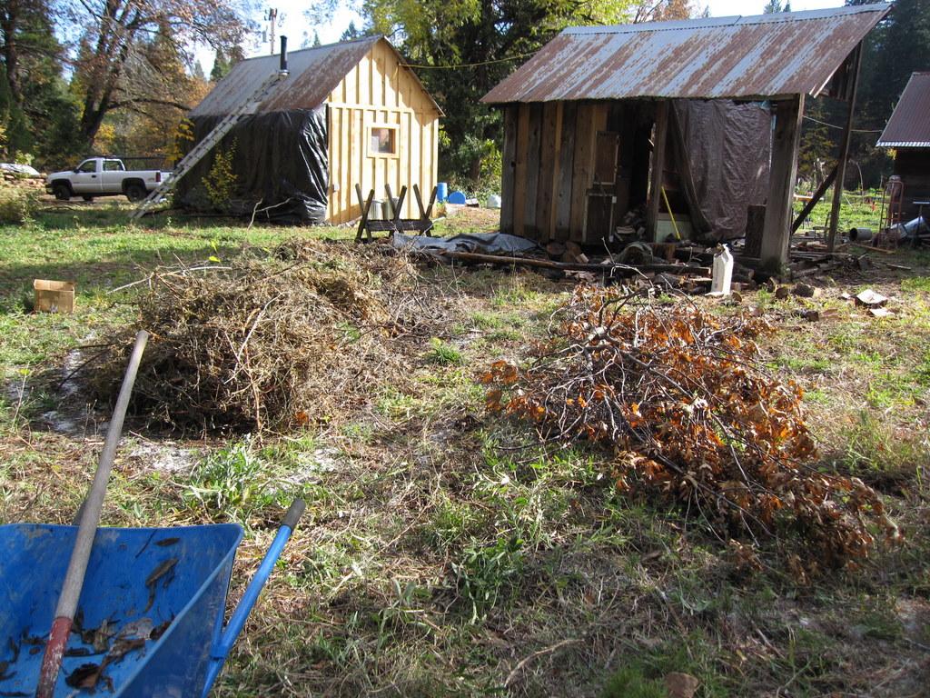 Blueberry mounds first layer-- acidic mulch-mound making