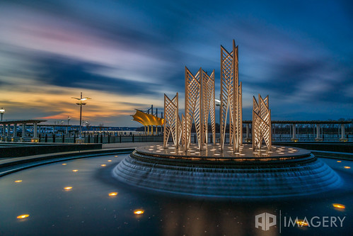 lee longexposure batwing owensboro sunset fountain canopy water lte pavilion smotherspark filter kentucky ky downtown usa