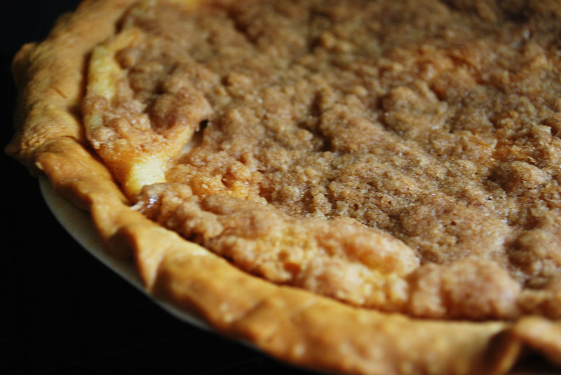 Apple Custard Pie - layers of cinnamon apples, creamy custard, and a streusel topping. The perfect Thanksgiving apple pie!