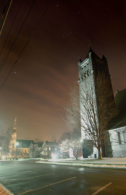 Constellation Orion over the Unitarian Church; Wakefield, Massachusetts (2006)
