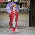 Fake geisha with Janaese umbrella in Kyoto, Japan: 傘を持って、舞妓変身、京都