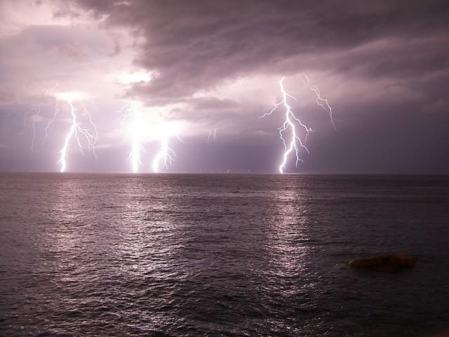 Lightnings over the sea
