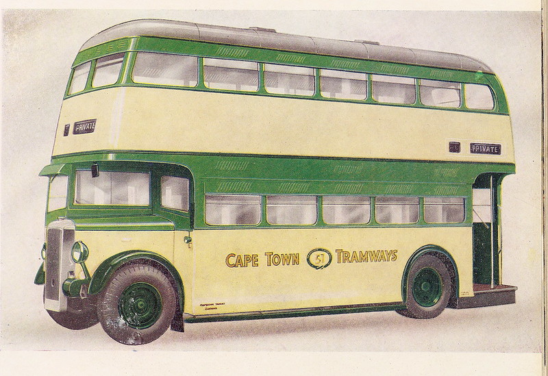 Cape Town Tramways Daimler double deck bus with MCW bodywork - advert plate, c1950