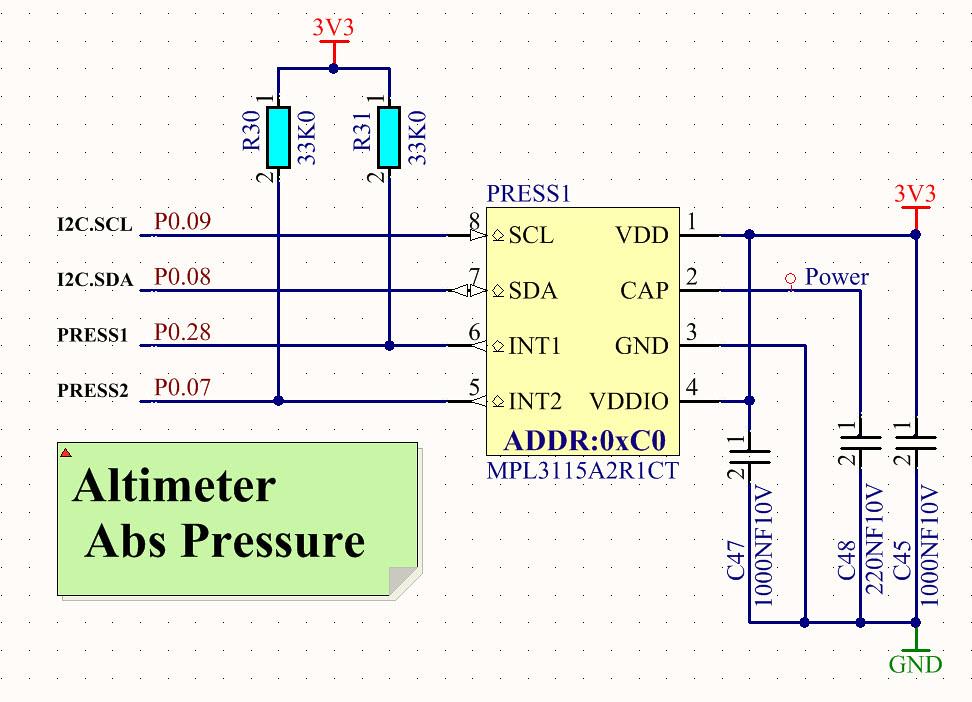 I2C Altimeter Pressure Sensor Schematic | MPL3115 Surface Mo