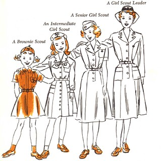 Girl Scouts Brownies to Senior Girl Scout art by Ruth Wood in 1951