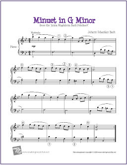 Minuet in G Minor (Bach) | Sheet Music for Easy Piano (PDF