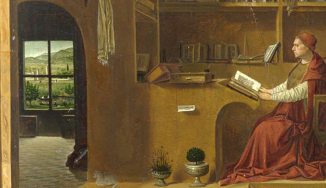 Antonello da Messina - Saint Jerome in his study room, detail left window