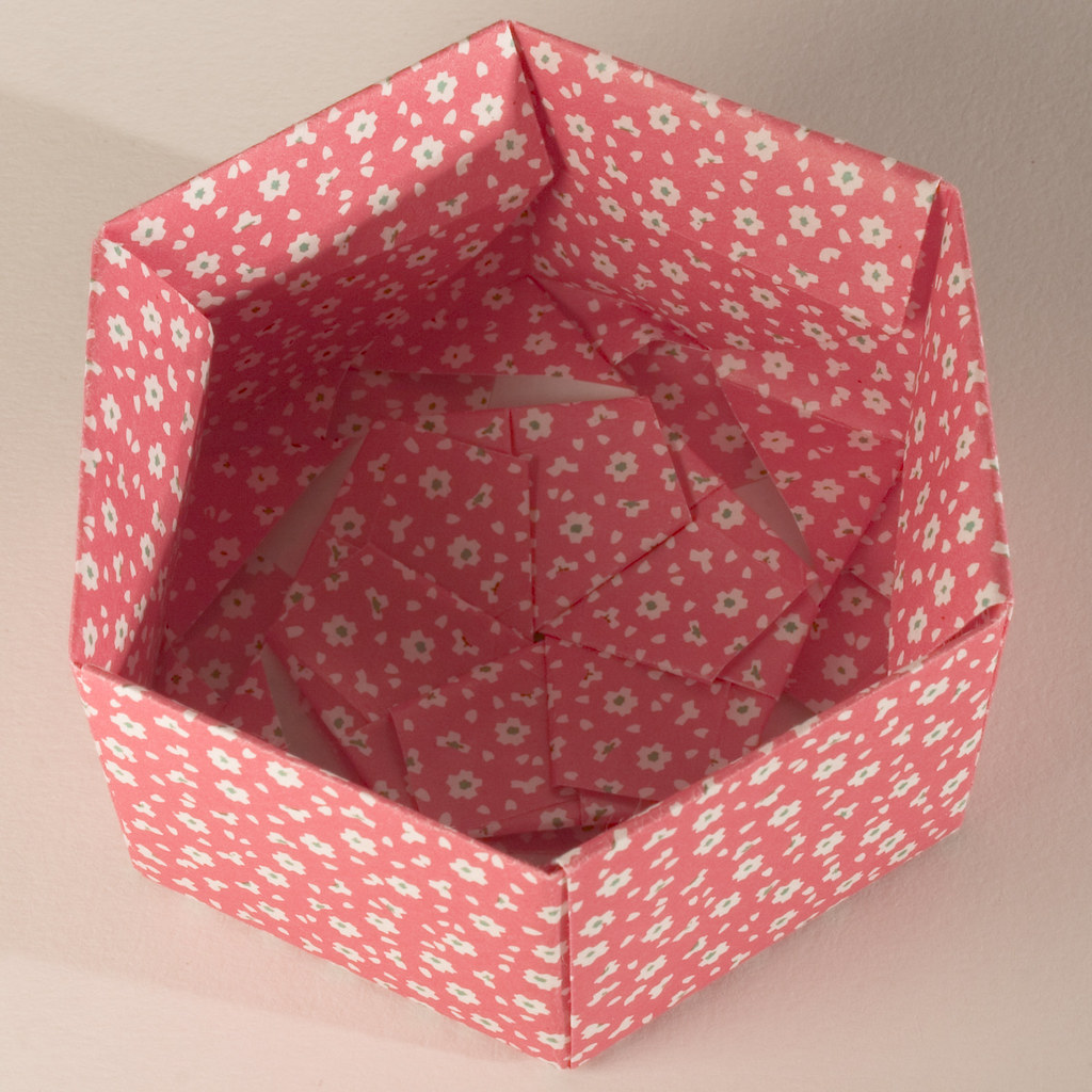 Base of Decorative Hexagonal Origami Gift Box (with Lid removed): # 07