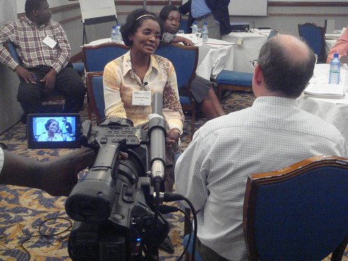 Andy Burness and Antoinette Ba-Nguz on-camera media training | by The PATH Malaria Vaccine Initiative