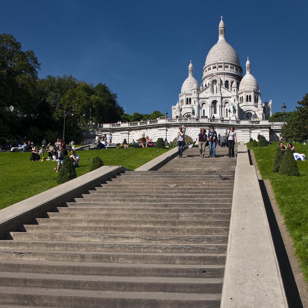 France Paris Sacre Coeur Steps Sq Montmartre Was Quite