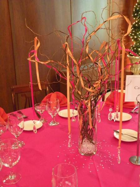 Branch centerpiece with ribbons and crystals