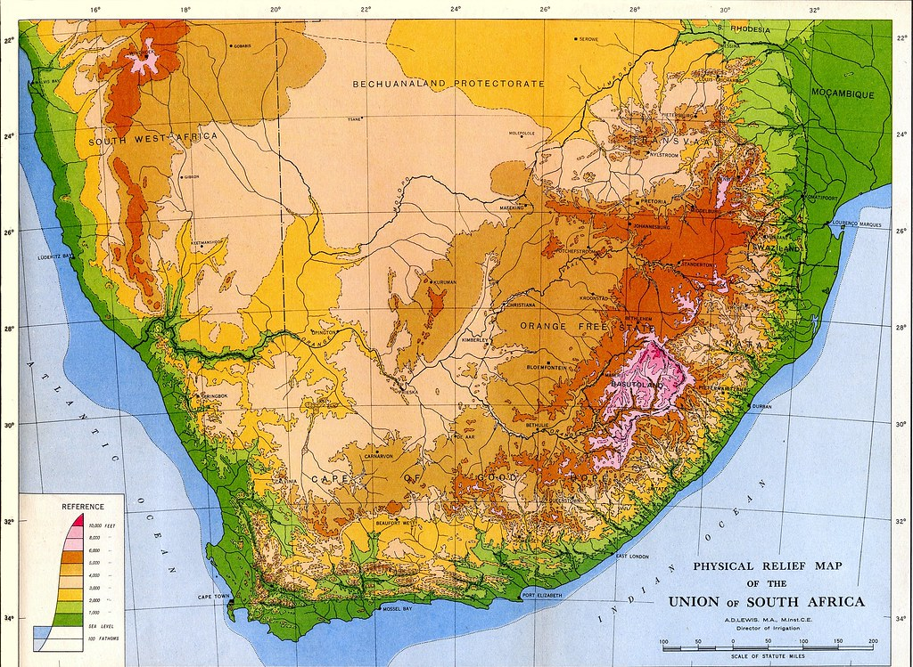 Relief Map Of Southern Africa.The S A R History Scope And Organisation 1947 Relief